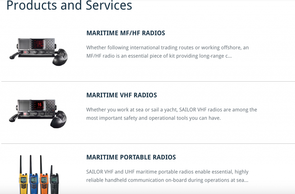 Radio products at sea